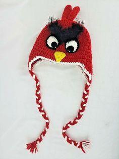 ANGRY BIRDS Red Bird Knit Crochet Beanie Hat Ski Cap Tassel Braids Kids  Costume  AngryBirds 9f88521b612d