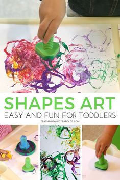 If you are looking for easy, you will love this toddler shapes art activity. It\'s a great way to work on shape recognition, plus you can use toys you already own! #toddlers #art #shapes #finemotor #processart #AGE2 #teaching2and3yearolds