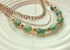 Emerald Necklace Gold Necklace Chain Necklace by SteenStreetCo, $34.00
