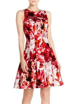 Maggy London Floral Print Stretch Cotton Fit & Flare Dress available at #Nordstrom