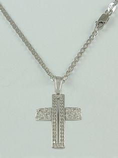 Σταυρός βάπτισης λευκόχρυσος με λευκά ζιργκόν σε αλυσίδα, 14 καράτια, κορίτσι, Κωδικός WS074