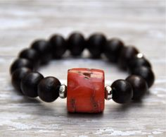 Mosaic Coral Nugget Wooden Bead Bracelet by BeadRustic on Etsy, $50.00