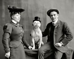 "Shorpy Historical Photo Archive ::  Circa 1908. ""Mr. and Mrs. Frank Kern and trained dog Bobbie."""