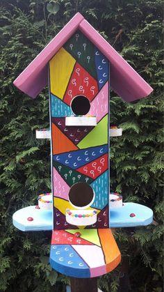 Vogelhaus, Vogelvilla, Nistkasten,Original 100% Handarbeit(Hundertwasser Stil) in Garten & Terrasse, Dekoration, Vogelhäuser   eBay
