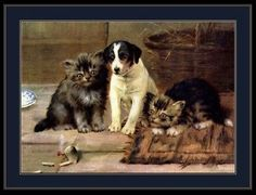 English Print Jack Russell Terrier Puppy Dog Cat Kitten Poster Vintage Picture