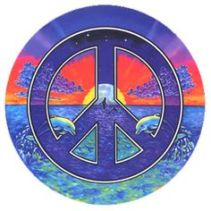 peace signs images | Window Sticker with Peace Symbol over Ocean with Dolphins & Whales