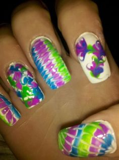 purple, blue, and green - Nail Art Gallery