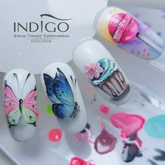 Acrylic Nails Glitter Ombre, Clear Acrylic Nails, Almond Acrylic Nails, Plaid Nails, Swag Nails, Butterfly Nail Art, Blue Butterfly, Butterfly Design, Nail Manicure