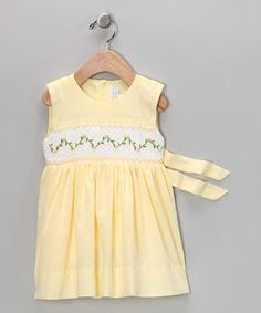 Sweet little yellow smocked dress for Evie.