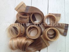 """Ombre Tape Hair Extensions//Jennifer Lopez//Dark Blonde Medium Blond Hair Extensions//Ready To Ship//(20) Pieces//18"""". $125.00, via Etsy."""