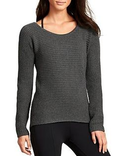 Huntly Sweater   Athleta $128 fabric + care      Wool/Nylon     Luxurious 5-gauge marled wool lends live-in comfort to all your winter wanderings     Midweight, cozy     Imported     Machine wash and dry.  fit      Semi-fitted     Boatneck-inspired neckline, dropped armholes give you room to move     Novelty shaker stitch, ribbed sleeve details     Body length in size medium: 23.5''