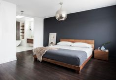 What Absolutely Everyone Is Saying About Dark Grey Accent Wall Bedroom Room Colors - walmartbytes Accent Wall Bedroom, Wood Bedroom, Home Decor Bedroom, Modern Bedroom, Bedroom Ideas, Mid Century Modern Master Bedroom, Feature Wall Bedroom, Contemporary Bedroom Furniture, Modern Bedding