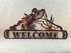 Duck-Landing-On-Pond-Welcome-Sign-Metal-Wall-Art