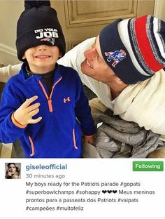 Pin for Later: Gisele, Kim, Shakira, and More Shared the Sweetest Snaps of Their Kids This Week Tom and Benjamin Brady got ready for the New England Patriots' victory parade in Boston. New England Patriots Merchandise, Patriots Fans, Patriots Football, Football Players, Football Memes, Kids Football, Tom Brady Kids, Gisele Bundchen Tom Brady, Tom And Gisele