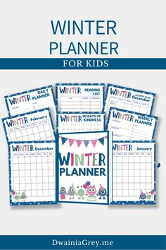 Keep your family organized by planning your family's winter activities. This colorful planner for kids and the whole family to use to plan your winter vacation. Buy Now! #winterplanner Kids Planner, Weekly Planner, Indoor Activities, Winter Activities, Family Organizer, Journal Pages, Reading Lists, Marketing And Advertising, Seo