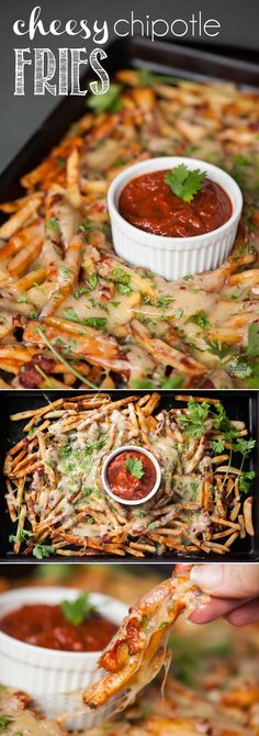Cheesy Chipotle Fries smothered in a super spicy chipotle pepper sauce and melted Monterey Jack cheese make for a great finger food appetizer!