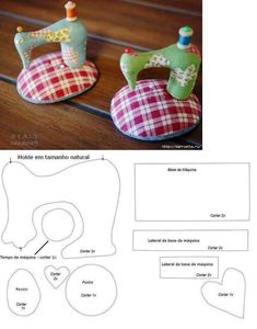 .sewing machine shaped pincushion with pattern