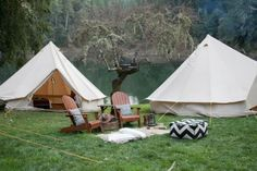 """Major Glamping: a California events company takes camping to the next level, with European canvas tents, Pendleton blankets, leather butterfly chairs (and optional sommelier). Shelter Co. has partnered with properties in wine country, Big Sur, Santa Ynez, and Joshua Tree (more venues are on the way) to provide """"curated outdoor experiences"""". Add outside dinner for 12 and serve. xoxo"""