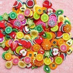 Fruit Polymer Clay Cane Slices Mix Fruit Fimo Cane Miniature Sweets Decoden Kawaii Nail Art Decoration Scrapbooking (190pcs)