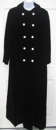 Vintage 60's Floor Length Long Black Velvet Opera Dress Coat Rhinestone Buttons #Unbranded