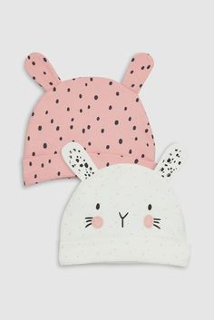 Pink/Monochrome Bunny Character Beanie Hat Two Pack (0-18mths)