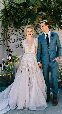 A modern take on a traditional long sleeve wedding dress, sheer sleeves proved to be a hit among brides this year. Whether it was a lace overlay or intricate embroidery this fashion forward trend was all the rage. | Photographer: Angela Zion Photography // Dress: Hayley Paige | Best of 2017: Stunning and Stylish Wedding Dresses | Kate Aspen | #wedding #weddingdress