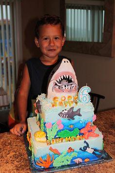 Shark cake Cody's 6th Birthday