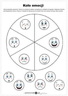 Koło emocji - Printoteka.pl Montessori, Psychology, Bullet Journal, Education, Cards, Asperger, Speech Language Therapy, Therapy, Cuba