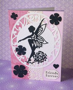 Tonic Studios new Fairy Lily Rococo die Tonic Cards, Fairy Silhouette, Tattered Lace Cards, Studio Cards, Fairy Crafts, Spellbinders Cards, Friendship Cards, Birthday Cards For Men, Die Cut Cards