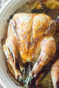 Orange Rosemary Roasted Cornish Hens are also perfect to make for intimate dinners. For example, if you're only serving two for a romantic dinner, it's a perfect dish to serve. And if there will only be two of you for Thanksgiving or Christmas dinner, this is the perfect alternative to cooking for a small army (guilty!) if it's an intimate dinner. #CornishHens #dinner