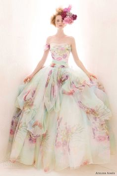 Wonderful 30 Pastel Wedding Dresses Design For Bride Looks More Pretty Wedding Dresses 2014, Colored Wedding Dresses, Wedding Gowns, Tulle Wedding, Wedding Bride, Bridesmaid Dresses, Tiffany's Bridal, Bridal Gowns, Couture Bridal