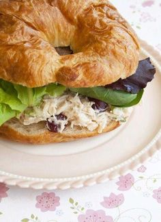 quick & easy chicken salad (grapes/apples/almonds - yum)  I do celery and green onions instead of the fruit.....and no nuts in case of allergies. But that's just me.....plain.