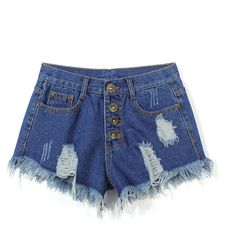 Yoins Deep Blue Fringe Ripped Denim Shorts ($16) ❤ liked on Polyvore featuring shorts, blue, distressed denim shorts, blue jean shorts, high waisted shorts, high-waisted jean shorts and dark blue shorts
