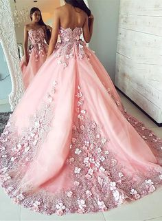Buy Ball Gown Pink Tulle Lace Applique Long Sweetheart Strapless Prom Dresses,Evening Dresses in uk.custom make prom dress, can give us size and buy directly from link. pink prom dresses sweetheart neckline lace appliques evening dresses hand made fl Pageant Dresses For Women, Strapless Prom Dresses, Ball Dresses, Ball Gowns, Pink Quinceanera Dresses, Dress Prom, Gorgeous Prom Dresses, Pretty Dresses, Sexy Dresses