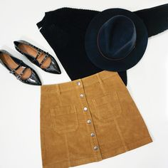 fall favorites: suede skirts, cozy knit sweaters, floppy hats, and flats!