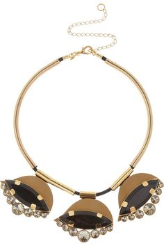{ Gold-Tone, Horn and Leather Necklace }
