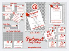 Pinterest Party Printable Set!  Everything you need for your own PINTEREST PARTY! #pinterest #party #invitation #printable This would be fun just to have an excuse to have a party! A party where everyone brings something they have made off of pinterest and then have activities you can make at the party from pinterest!