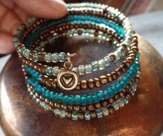 Memory Wire Wrap Bracelet Features Aqua Gold and by NonisFancies