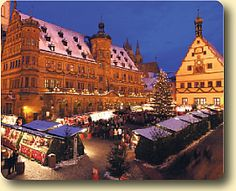Christmastime in Rothenburg. I visited this medieval town in the Bavarian region of Germany in September and was immediately sucked in by it's charm. The town's doors used to be closed each night and if a resident didn't make it back in time they would be locked out for the night. I would love to return in December to visit the famous Christmas market.