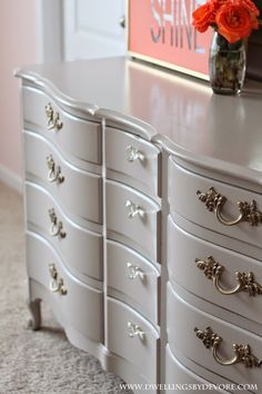middle knobs / paint color - CO French Provincial dresser makeover, Behr Marquee Graceful Gray French Provincial Bedroom, French Provincial Furniture, Grey Furniture, Paint Furniture, Kitchen Furniture, Metallic Painted Furniture, Furniture Removal, Furniture Movers, Bedroom Furniture