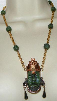 Vintage Mexico Laton Aztec Mayan Tribal Warrior Necklace Face Copper Brass