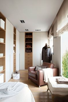 Cool Apartment In Barcelona : Cozy Apartment In Barcelona With White Wall Wardrobes Brown Sofa Big Window Curtain Chair Hardwood Floor Lamp Design Cozy Apartment, Apartment Interior, Built In Furniture, Brown Sofa, Wardrobe Closet, Layout, Best Interior Design, White Walls, Home And Living
