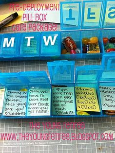 Pill Box Care Packages to send with your spouse.  Good idea for when Hubs is on the road for work.  Military wives aren't the only ones who's husbands are gone a lot.