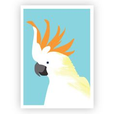 This cheerful, illustrated CITRON CRESTED COCKATOO wall art print is bound to brighten any nursery or bird-lover's nest! Wall Art Sets, Wall Art Prints, Highland Cow Art, Tourism Poster, Cockatoo, Large Prints, Nursery Wall Art, Art Deco Fashion, Hand Painted