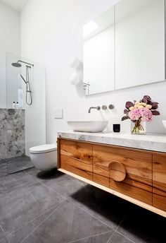 The Block 2018: The timber vanity from Ingrain makes a design statement in Bianca and Carla's ensuite.