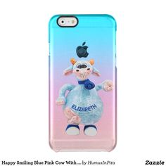 Happy Smiling Blue Pink Cow With Your Name Drawing Uncommon Clearly™ Deflector iPhone 6 Case
