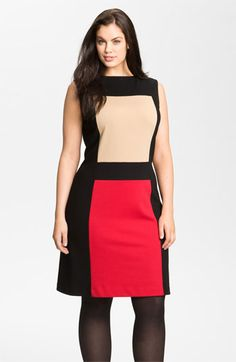 Calvin Klein Colorblock Ponte Knit Sheath Dress (Plus) available at #Nordstrom