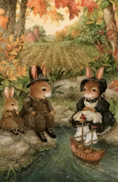 Make believe furry creatures in clothing (by artist Susan Wheeler)