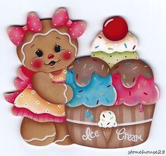 HP Gingerbread with Ice Cream Fridge Magnet Gingerbread Crafts, Christmas Gingerbread, Christmas Art, Gingerbread Cookies, Christmas Ornaments, Ice Cream Fridge, Country Paintings, Tole Painting, Painting Patterns