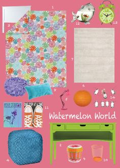 Watermelon pink with lots of other bright colors. Definitely a summer inspired bedroom for your girl! Click through to see where I found all this cool stuff.
